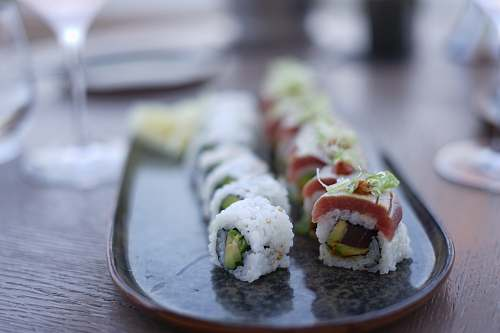 sushi sushi plates on gray platter burger