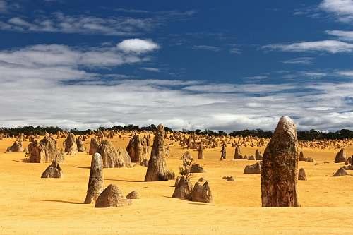 desert field of rocks sand