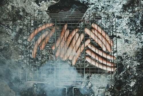 food grilling sausage smoke