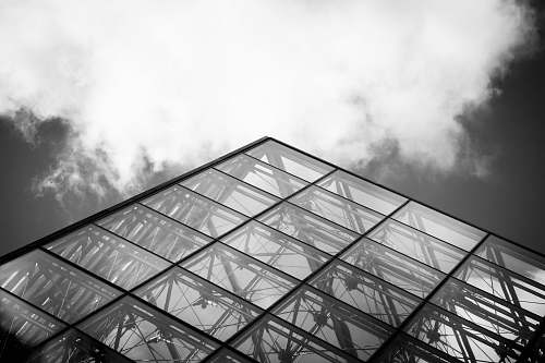 paris grayscale photography of curtain wall building france