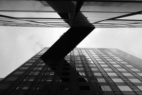 paris grayscale photo of worm's eye view of building black-and-white