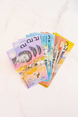 poster assorted Australian dollar banknotes money