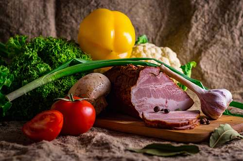 produce raw meat and vegetables flora