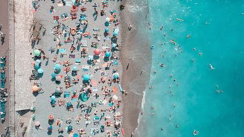 outdoors aerial photography of people on the beach landscape
