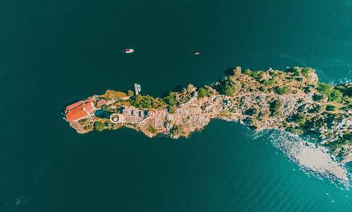 nature aerial photography of island land