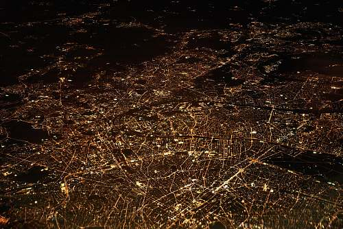 city aerial photography of city night