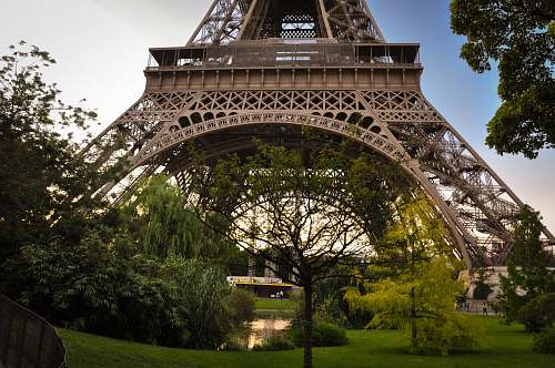 eiffel tower worm's eye view photography of Eiffel Tower, Paris trees