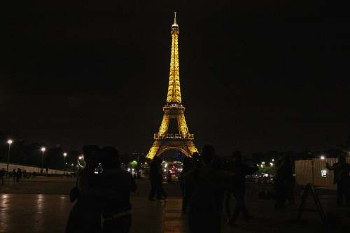 building powered-on lights Eiffel Tower, Paris town