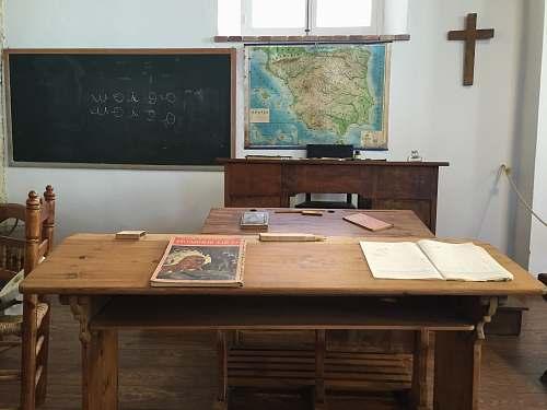 table brown wooden desk furniture