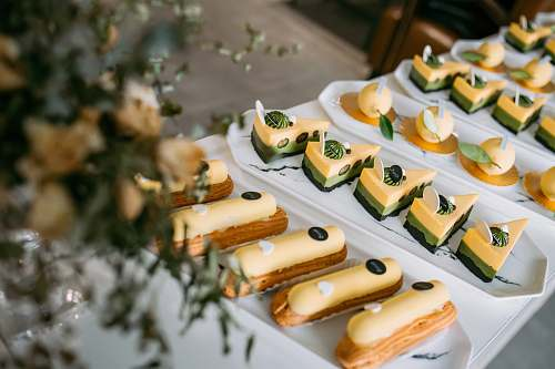 plant cheese cake on plate hot dog