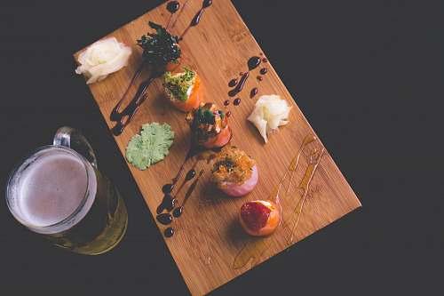 beverage clear glass beer mug on wooden board drink