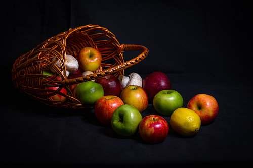 apple fruits in basket flora
