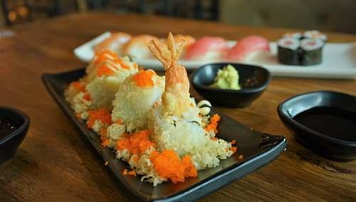 meal shrimp sushi on platter dish