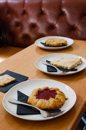 table pastry on plate on top of table dining table