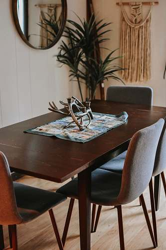 chair rectangular brown wooden table table
