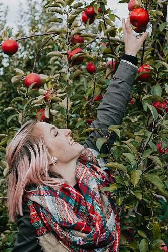 person man wearing scarf reaching fruit people