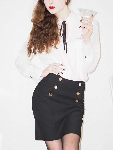 clothing woman in white long sleeve shirt and black skirt female