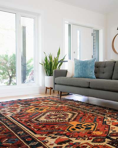 photo carpet teal 2-seat couch and red area rug home decor free for commercial use images