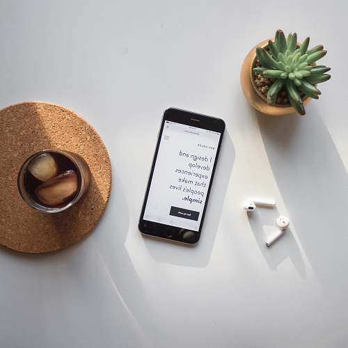 phone post-2014 iPhone beside Apple AirPods and succulent plant on white surface website
