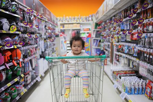 photo baby on white shopping cart free for commercial use images