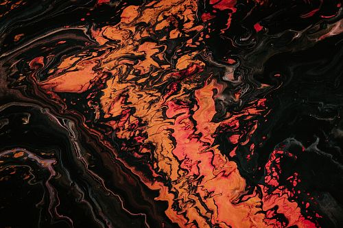orange and black fluid abstract painting