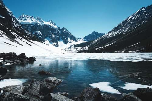 snow body of water in the middle of mountains ice