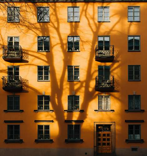 building orange concrete building with tree shadow during daytime stockholm