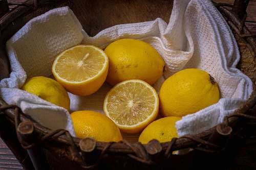citrus fruit basket of lemons orange