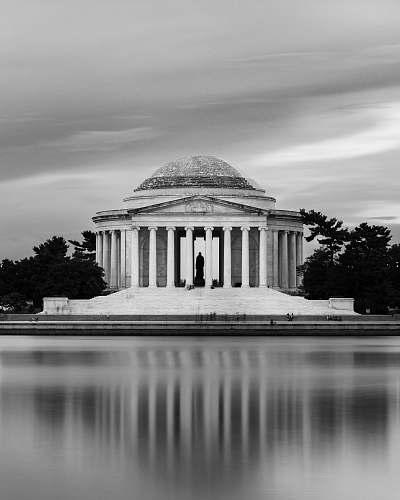 architecture grey cloudy sky over Washington landmark black-and-white