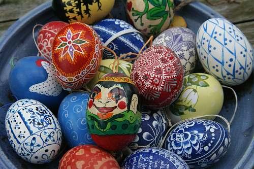 food assorted-color Easter eggs on bowl easter egg