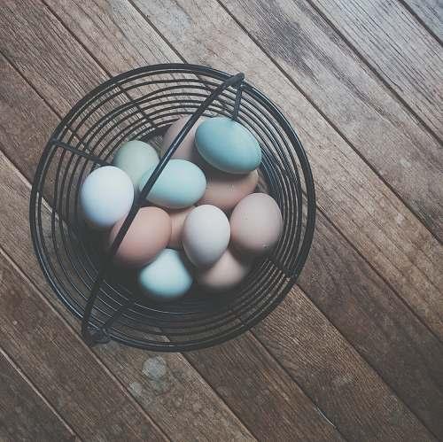 food eggs in black steel rack easter