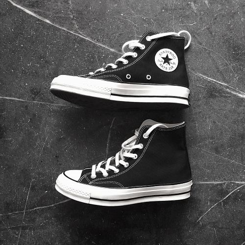photo black Converse All Star high top shoes free for commercial use images