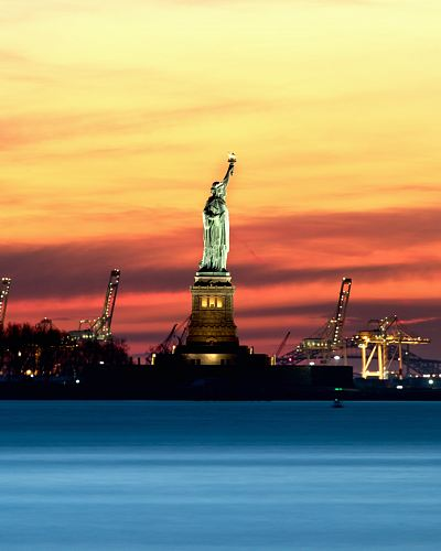 photo panorama Statue of Liberty during night time free for commercial use images