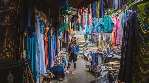 clothing woman wearing blue jacket footwear