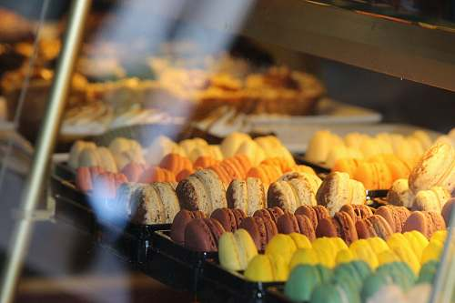 shop displayed French macaroon food