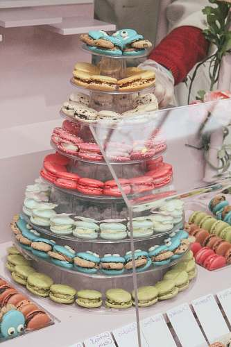 photo shop tower of French macaroon bread free for commercial use images