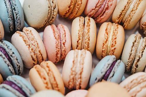 sweets French macaroons with different colors confectionery