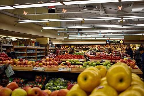 person apple fruit lot market