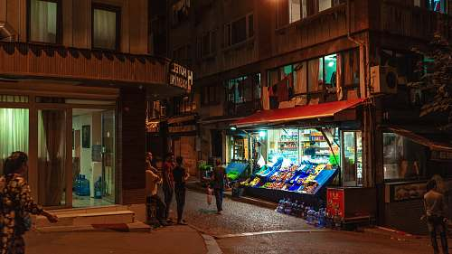 person night market kiosk