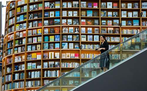 person woman standing on escalator near brown wooden book shelves indoors