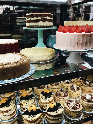 bakery assorted-color cake lot food