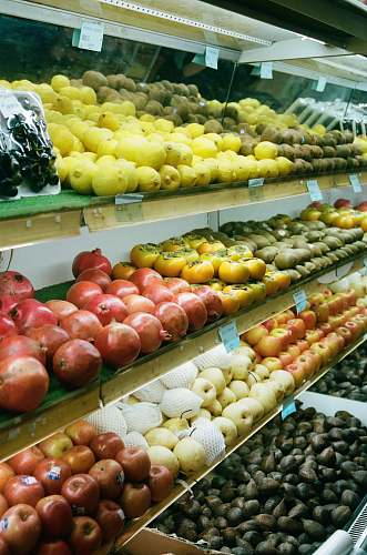 market assorted fruits on shelves grocery store