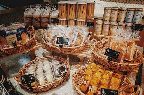 bakery brown and white wicker baskets bread