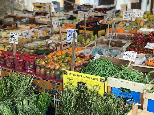 market green vegetables and fruits grocery store