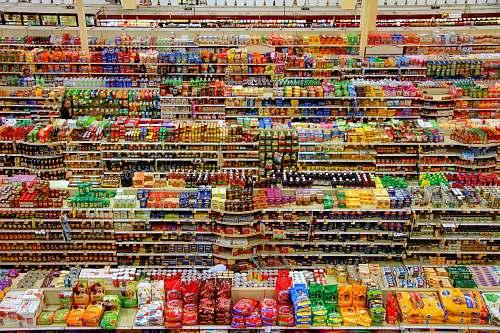 market high-angle photography of grocery display gondola supermarket