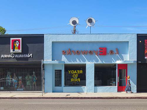 human L.A. Eyeworks building near Nathalia Gaviria boutique person