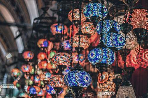 market red and blue hanging lamps bazaar