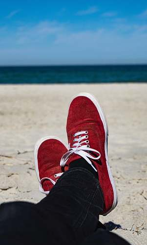 clothing person on seashore shoe