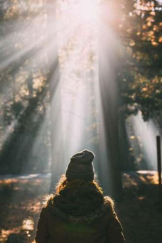 light person looking at trees person