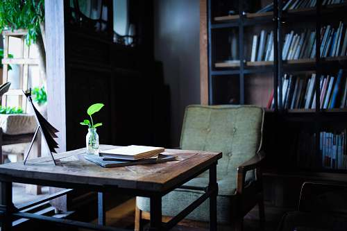flora photo of green padded chair near brown wooden table jar